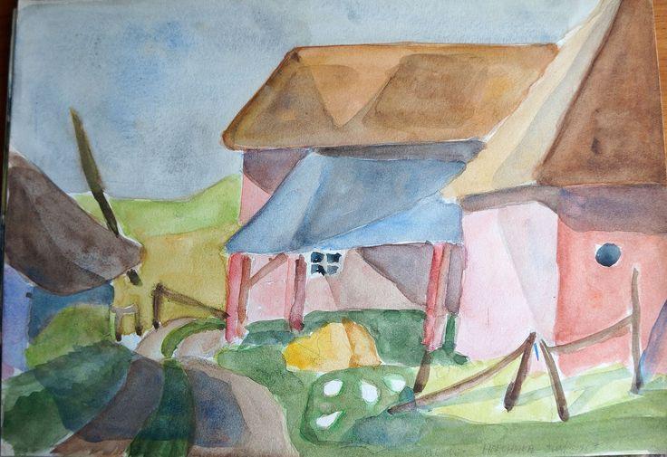 Entrance to my Swedish house - Horshaga, Sweden 1967 - Watercolor Claus Ib Olsen - (1600×1098)