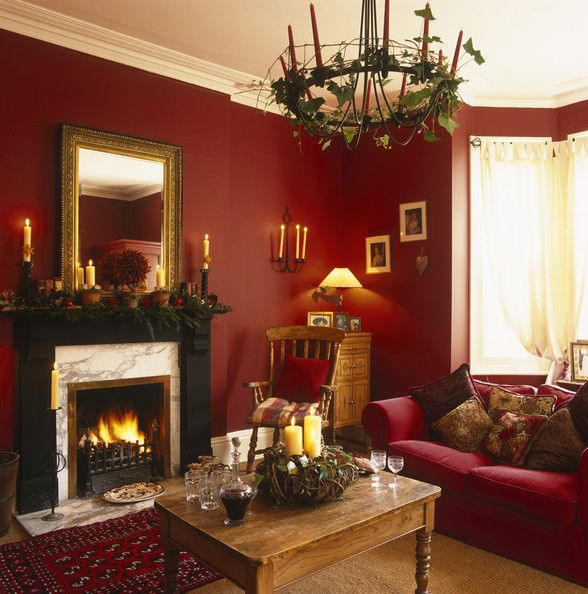 Snug Red Living Room Perfect For Relaxing At Christmas