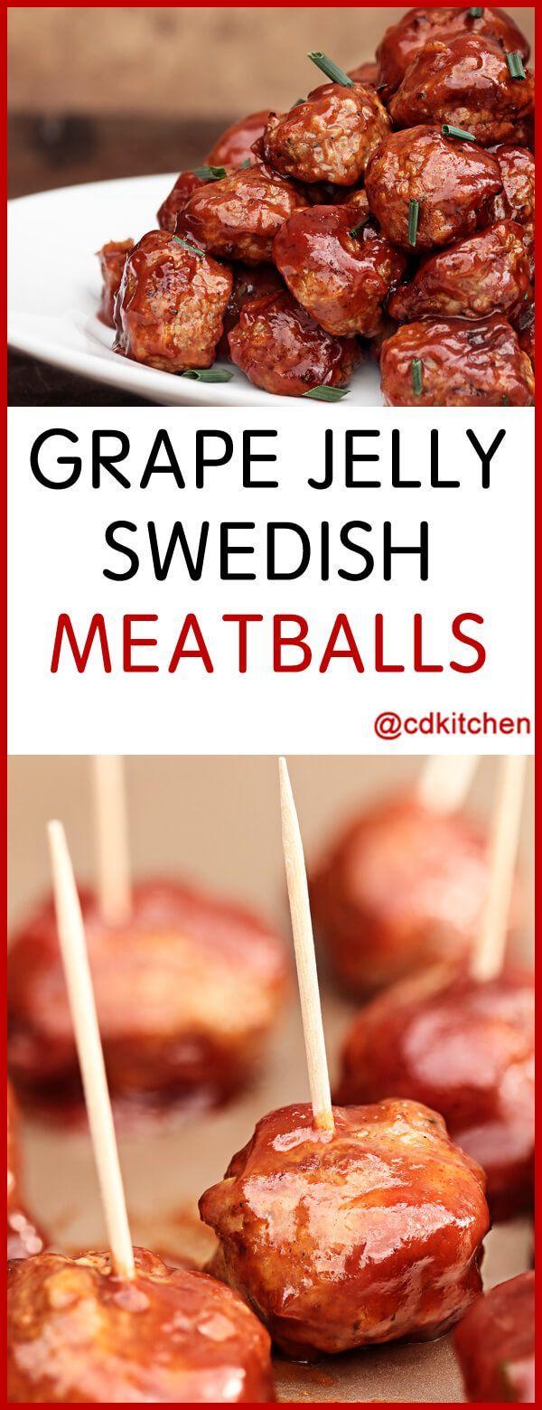 Grape Jelly Swedish Meatballs - Recipe is made with black pepper, salt, vegetable oil, onion, garlic, tomato sauce, mustard, cider vinegar, grape jelly, chili powder, ground beef, bread crumbs | CDKitchen.com