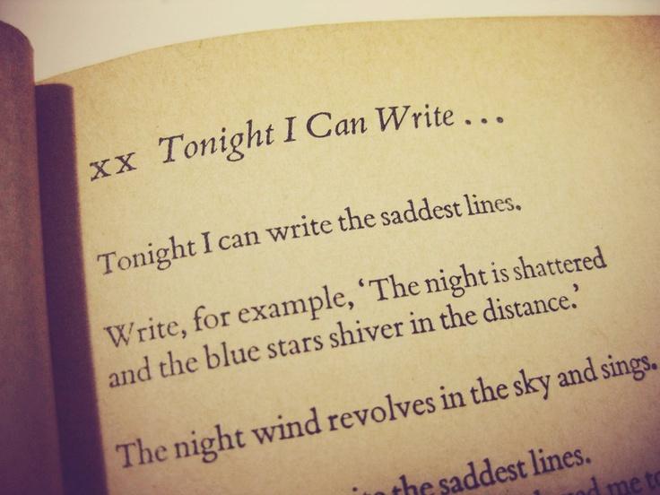 Tonight I Can Write