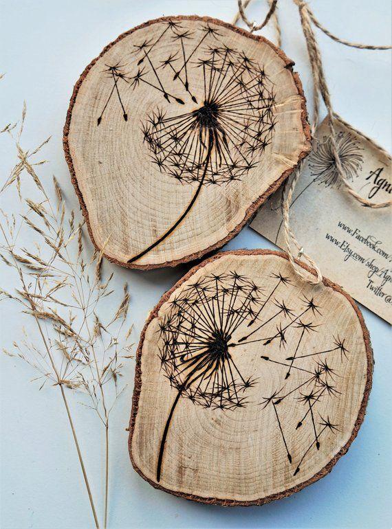 Make a wish, dandelion wood slice, dandelion art work, personalised branch slice, wooden slice pyrography, wood burning art, wood burning