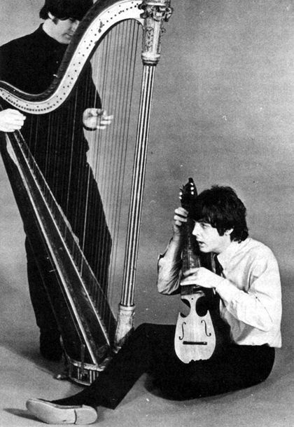 The Beatles - Paul and John with a harp and a mandolin c. 1965-1966