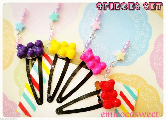 Check out this item in my Etsy shop https://www.etsy.com/au/listing/386301058/4-candy-gummy-bear-hair-cliphair-clips