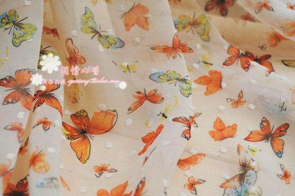Бабочки напомнить шифон ткань ткань / Сделай сам, новые 14,8 юаней на полметра, печать, Китайская одежда юбка ткань - Taobao