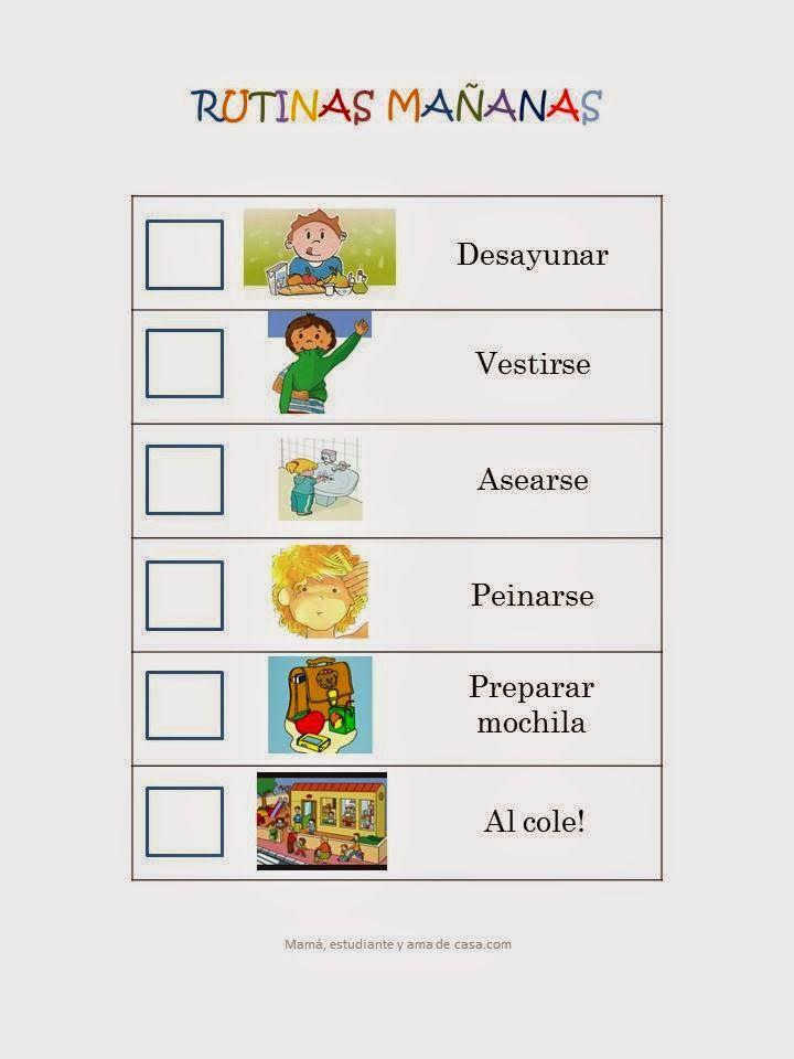 Mamá, estudiante y ama de casa (a la vez): Cartel rutinas de la mañana para niños
