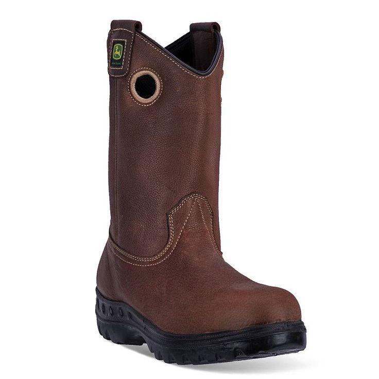 John Deere Men's Waterproof Steel-Toe Cowboy Boots, Size: medium (11.5), Brown