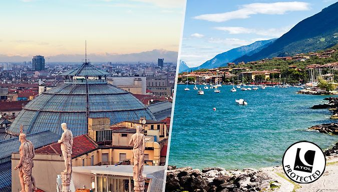 Milan & Lake Garda, Italy: 4-6 Night, 2-City Trip With Flights, Hotels & Breakfast Experience the beauty of Italy with a multi-city trip to Milan and Lake Garda      Stay for 2-3 nights at the 4* Best Western Cavalieri Della Corona Hotel in Milan      You'll also indulge in a 2-3 night stay at thePace Hotel in Lake Garda      Tuck into a delicious breakfast at both hotels each morning of...