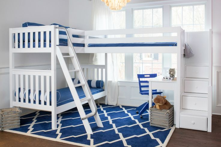 Maxtrix triple corner bunk. All Maxtrix Triple Bunk Beds have a variety of entry options. You can choose a straight ladder, angled ladder or staircase with storage underneath each step. Our most popular option with a staircase is called the Troika - plus each step is a drawer!