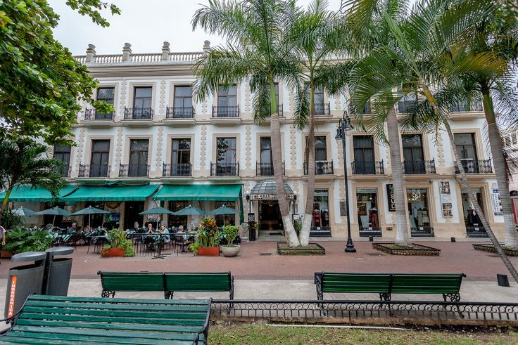 Exterior of the Gran Hotel in Central Merida, Mexico.