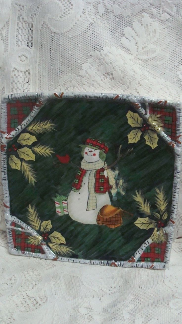 Certified international parisian fruit canister by susan winget set - Susan Winget Certified International Holiday Lodge Snowman Dinner Plate