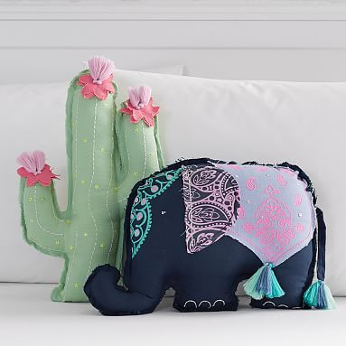 Tassel Shaped Pillows - pinning mainly for the elephant, although the cactus is cute, too.