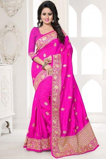 Rani Art silk Saree With Art silk Blouse - DMV12475