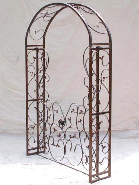 Garden Leaf Wrought Iron Arbor W/Metal Gate   Arbors U0026 Arches