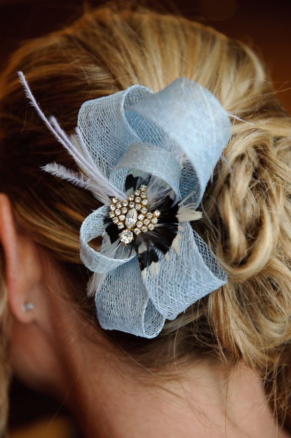 Light Blue Sinamay Loop Fascinator with Feather Medley and Rhinestone and Gold Antique Earring Embellishment