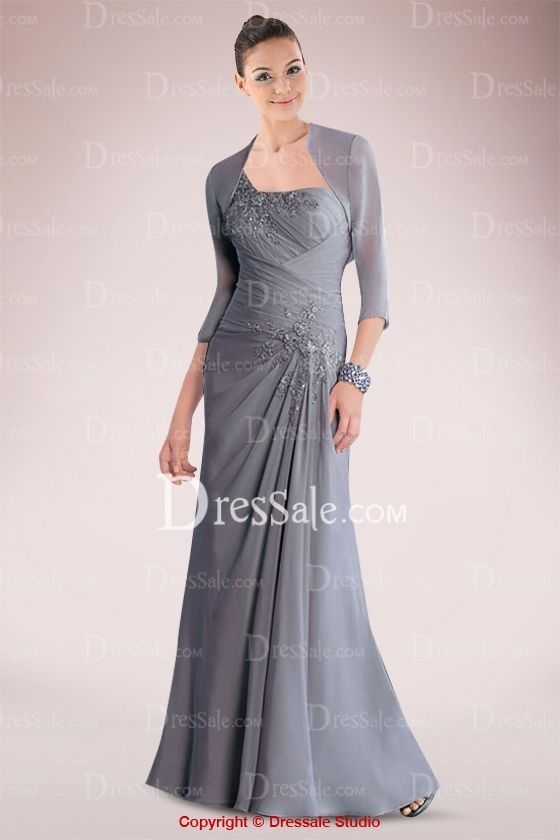 Feminine One-shoulder Mother of Bride Dress Featuring Appliques and Pleats