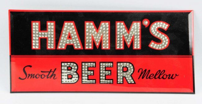 1930s-40s Hamm's Beer Tin Over Cardboard Sign. : Lot 130
