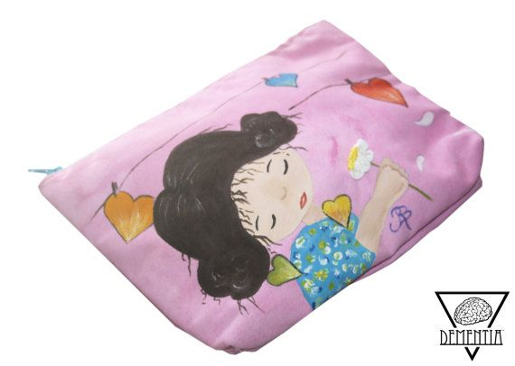Girl with flower Pouch, Handbag, Small Bag, Case