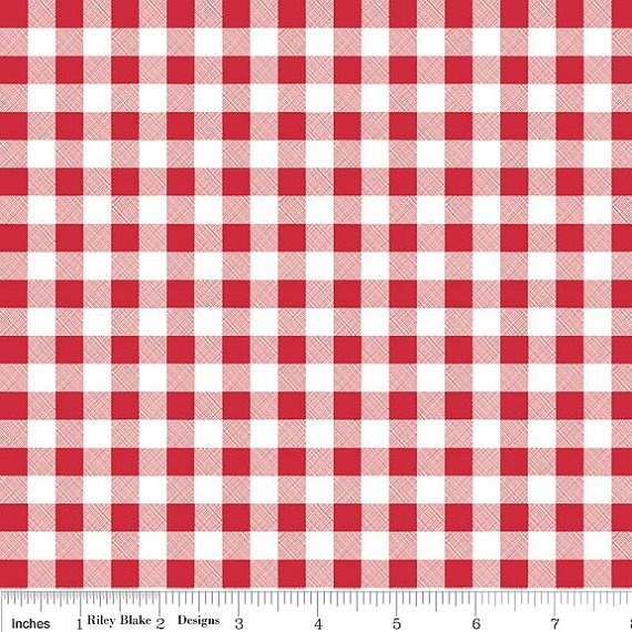 Riley Blake Bee In My Bonnet Polka Dot Stitches Red & White Gingham - available at Farm Road Quilts