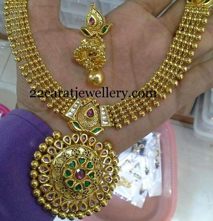 Jewellery Designs: Kundan Antique Necklace with Jhumkas