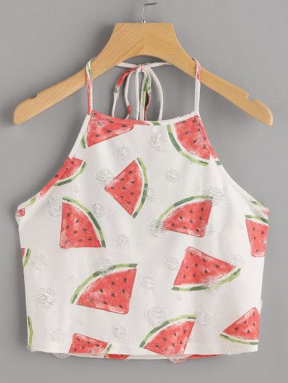 Watermelon Print Frayed Dot Detail Halter Top -SheIn(Sheinside)