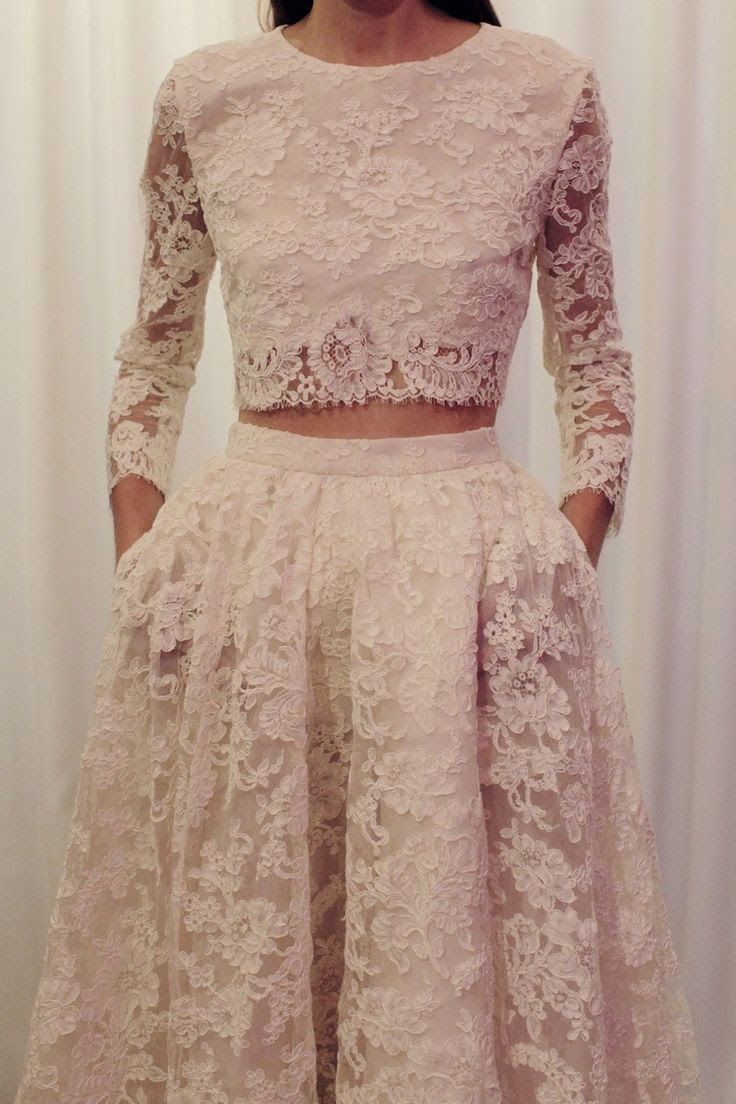 Mini Wedding Dress //  This Lace Mini Blouse And Lace Long Skirt Simple And Cute Outfit Cool websites where to buy? http://fancyoutletsale.com . like my pins? like my boards? follow me and I will follow you unconditionally and share you stuff if its pretty and cute :D http://www.pinterest.com/shopfancytemple/