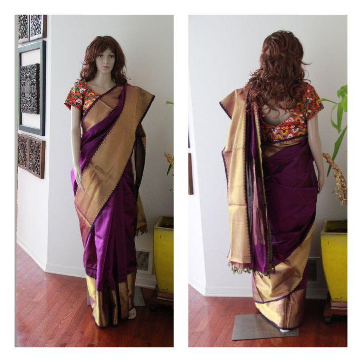 Magenta Purple Handloom Cotton Silk sari with Kutch Hand embroidered blouse (Brand New) by EleganceByRajul on Etsy