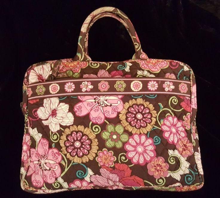 Vera Bradley Quilted Brown & Pink Floral Bag for Laptop Books Notebooks Binders #VeraBradley #TotesShoppers