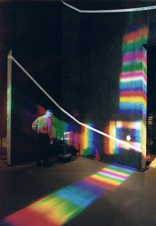 """peter erskine's """"spectrum of time"""". Visitors walk inside a living map of the solar year. Each rainbow sundial calendar is a unique joining of astronomy, architecture, locale, and art."""