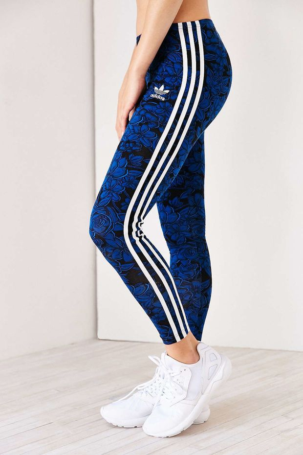 adidas Blue Floral Legging - Urban Outfitters