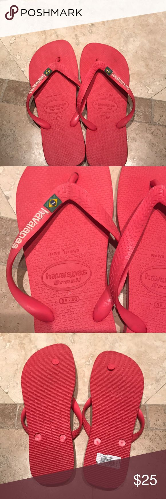 Havaianas flip flops purchased in Brazil Red flip flops given to me as a gift purchased in Brazil. Never worn. They say size 7/8 but they fit like a 8.5/9. Awesome with the Brazilian flag on top and Brazil colors on sides.  No tags but brand new! Some markings on top from carrying from Brazil. Havaianas Shoes Sandals