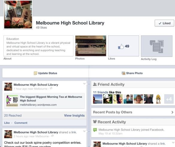 Promote your library and its events in a library Facebook page. This keeps your own teachers in touch with things (if they're on Facebook) much better than if you relied on seeing them at school. You can also post blog updates here.