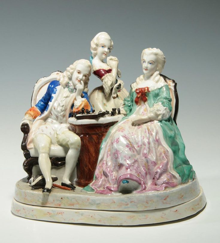 Lot: A 19THC. PORCELAIN CHESS PLAYERS W