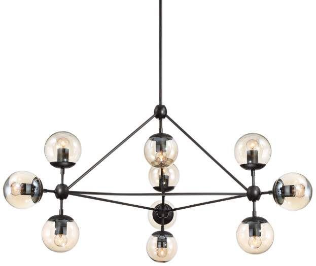 Enthen 10 Light Orb Black Chandelier Includes Light Bulbs