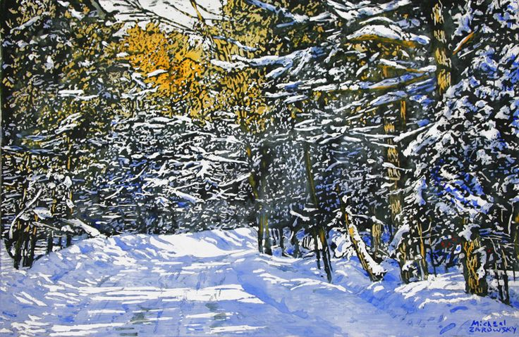 "road thru winter 15.5"" x 23.5""   micheal zarowsky mixed media (watercolour / acrylic painted directly on gessoed birch panel) / private collection"
