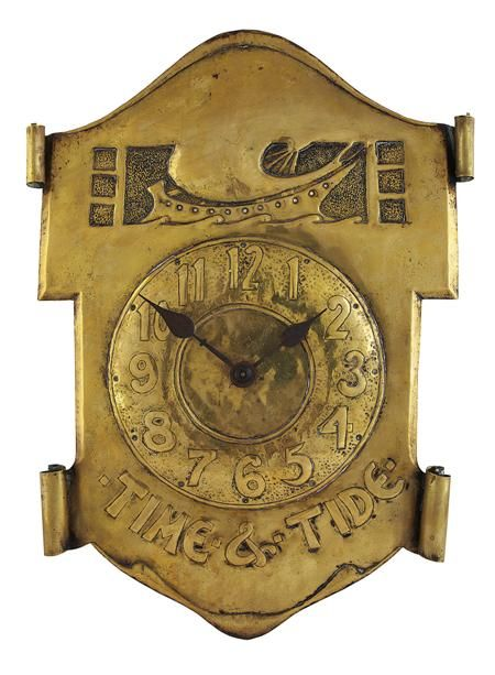 AFTER PETER WYLIE DAVIDSON ARTS & CRAFTS BRASS WALL CLOCK 49.5HIGH, 46CM WIDE - SALE 357 - LOT 270 - LYON & TURNBULL