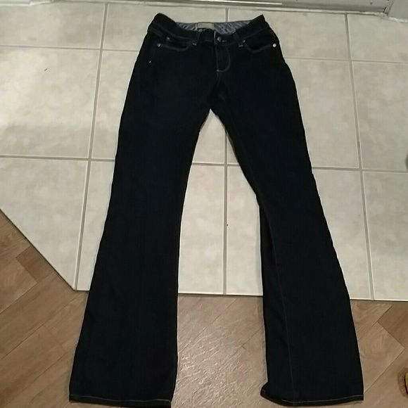 Paige jeans Paige jeans in a rich dark blue denim. Like new with a 32 inch inseam size 24. 80 cotton 19% polyester and 1% spandex so they have a little stretch. Very flattering jeans and classy looking. These are Monte boot. Paige Jeans Jeans Boot Cut