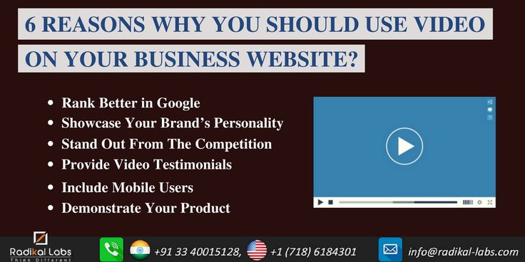 6 Reasons Why You Should Use Video On Your Business Website. Seek the expert's help for the right solution. Contact us at http://www.radikal-labs.com/contact