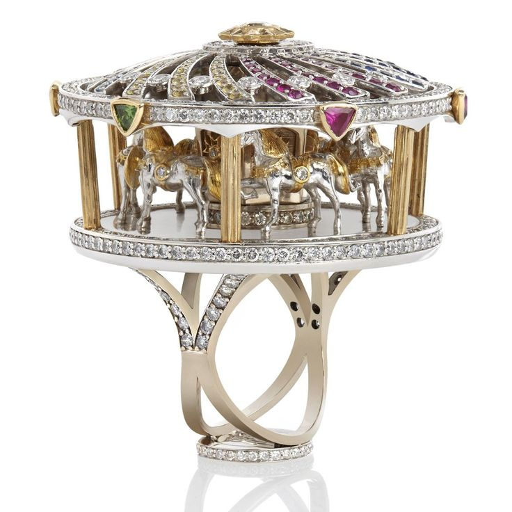 "Sybarite Jewellery // ""This is the merry go-round, which was one of our first Masterpiece designs. It's quite over the top as things should be in this world! It's a real moving carousel. There's only three in the world, one with elephants, one with camels and one with horses."""
