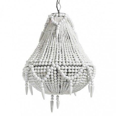 Lustre perles blanche en bois Nordal