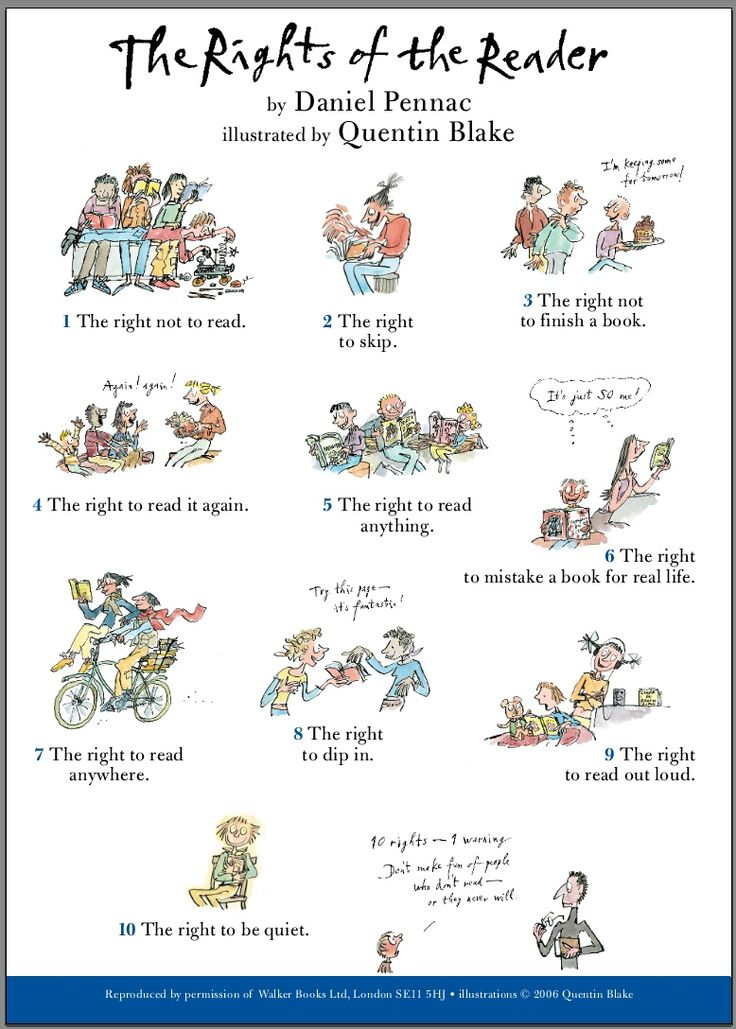 The Rights of the Reader, illustrated by Quentin Blake.  Love this!