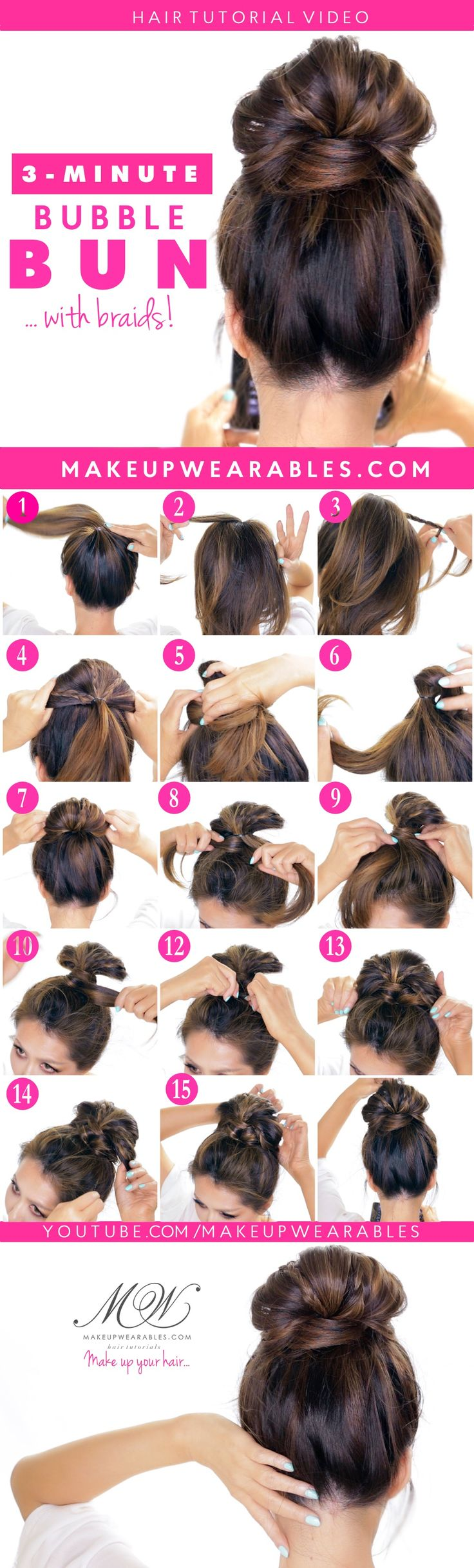 how to - Bubble Messy Bun Hairstyle with braids - easy hairstyles for medium long hair