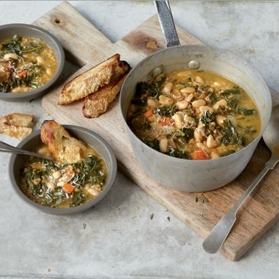 Tuscan Wheatberry Soup - With beans, wheatberries, and kale, this filling soup is a complete meal in a bowl. We puree some of the soup for a creamier texture, but you could skip that step