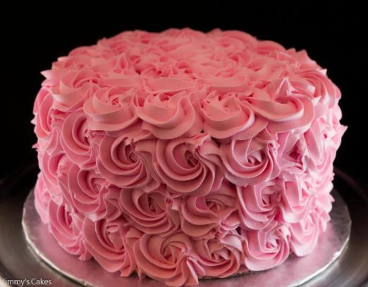 Pink Buttercream Cake with Piped Rosettes