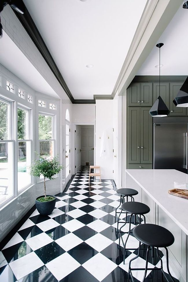 17 Best ideas about White Tile Floors – Black and White Tiles Kitchen