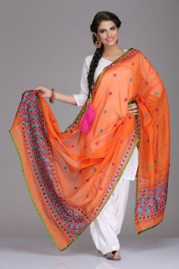 Stunning Orange Chanderi Dupatta With Multicoloured Phulkari Embroidery