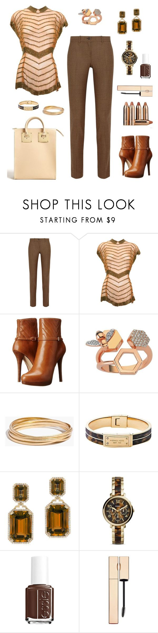 """""""Chevron Outfit Only Contest"""" by tippi-h ❤ liked on Polyvore featuring Michael Kors, MICHAEL Michael Kors, Bee Goddess, Madewell, Goshwara, FOSSIL, Sephora Collection, Essie and Clarins"""