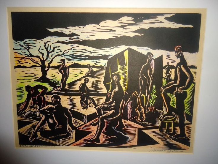 Original 1964 Linocut by James ? Framed Number 2 Africa Scene
