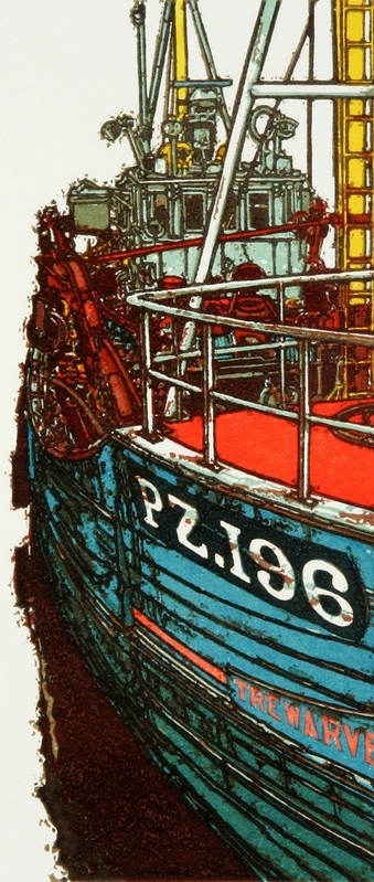 """Alongside"" Linocut by H J Jackson http://www.birchamgallery.co.uk/catalogue/artist/H.J.:Jackson/biography/?category=prints. Tags: Linocut, Cut, Print, Linoleum, Lino, Carving, Block, Woodcut, Helen Elstone, Sea, Water, Boats, Reflection, Harbour."