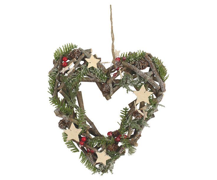 Рождественский венок на дверь - дерево - зеленый, 30х32 см | Westwing Интерьер & Дизайн