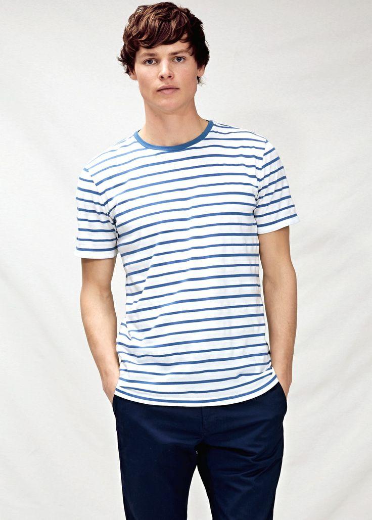 Striped textured t-shirt - T-shirts - Men - H.E. BY MANGO